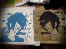 Linoleum Cut. Virus!Cry by Ask-TheCryaotic