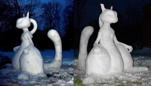 Mewtwo Snow Sculpture by lugiagirlz