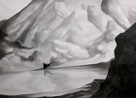 Enigmatic Figure in Fantasy Landscape by charlestanart