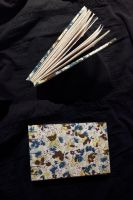 Blue Floral Cloth Covered Sketchbook by Pepper-Dragon