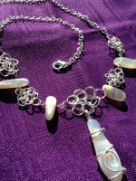 Wire-Wrapped White Agate and Moonstone Necklace by FaerieForgeDesign