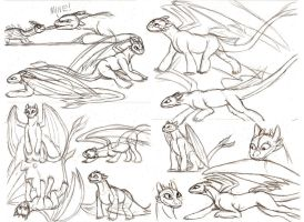 Toothless sketches by Ravenfire5