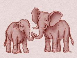 Elephants by BeagleTsuin