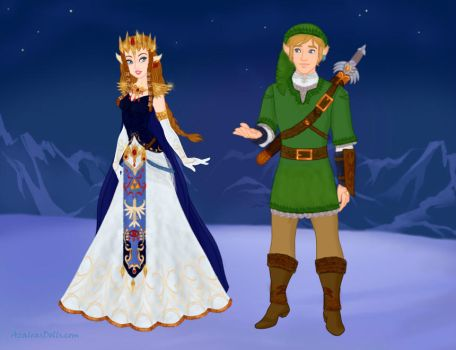 Queen Zelda of Hyrule and Link, the Hero of Time by Eolewyn1010
