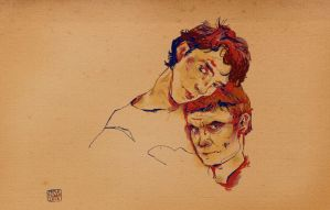 Sherlock and John double portrait by Paperflower86