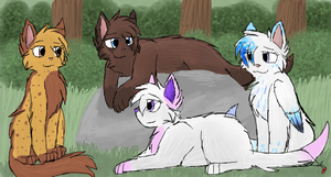 Spotty, Fuzzytail, Cherrywind and Serenity by CascadingSerenity