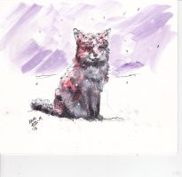 Fox in snow by cxcow