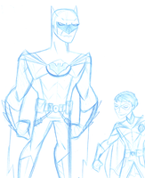 Pencil sketch: Batman and Robin by sillybilly13
