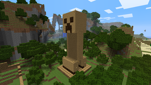 Minecraft- wood creeper statue by Tryzon