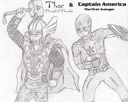Thor and Captain America by five-tailes
