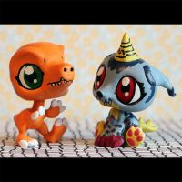 Agumon and Gabumon Littlest Pet Shop customs by pia-chu