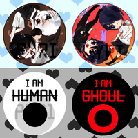 tokyo ghoul buttons by Suukebe