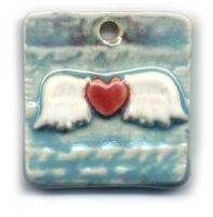 Porcelain Winged Heart Pendant by ChinookDesigns