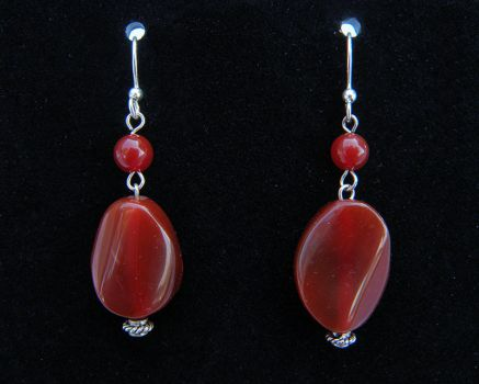 Red Agate Dangle Earrings by Cillana