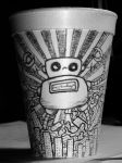 Robot drawing on styrofoam cup by PistolFury