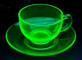 Uranium glass cup and saucer by Nathan6022