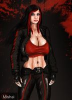Agnes Shepard in leather Jacket by Mishai