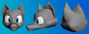 3D Dog Head Finished by Intangibull
