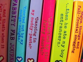 colourful books. by laurengee