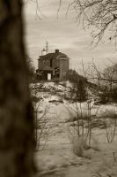 Marquette Lighhouse Sepia by shortcake23