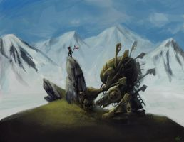 Mech with mountains by dinmoney