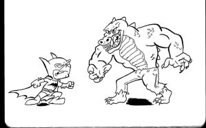 Chibi Batman vs Killer Croc by PlummyPress