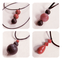 Space themed pendants - coral, lava, fire agate by BadgersBakery