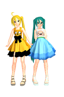 MMD Adventure time Neru and Miku DL by 2234083174