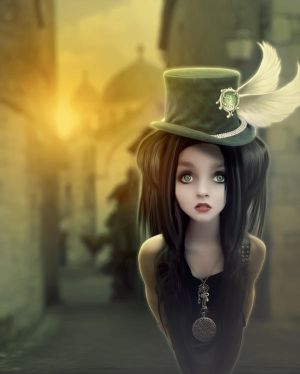 Girl with green hat by MajkaHarolds