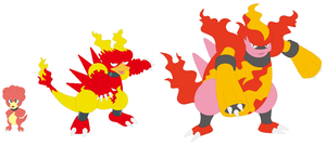 Magby, Magmar and Magmortar Base