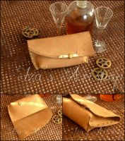 No. 132 Steampunk Nubuck Leather Pouch by izasartshop