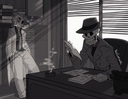 Detective Undyne and Papyrus- Commission by KelCasual