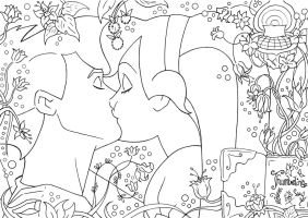 - Kiss Thumbelina and Cornelius lineart - by lizzzy-art