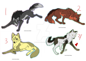 Some Wolf Adoptables by Whitelupine