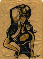 Paper Bag Art GIRL 1 by PaulSizer