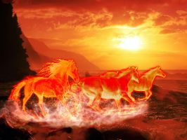 Flame Horse Version 1 by Tom-in-Silence