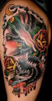 girl and wolf tattoo by xveganmafiax