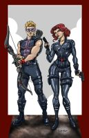 Hawkeye and Black Widow by ChrisMcJunkin
