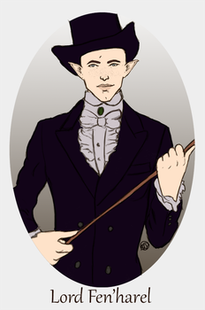 Prompt: Solas in Victorian era clothing by loveinnature