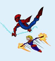 Spidey and Captain Marvel by Jonny-Aleksey