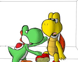 Koopa and Yoshi by Pokecrz