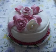 Rose Gift Box Cake by HandsOffMyChocolate