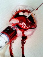 Water colour mouth with needle by Art-Angst