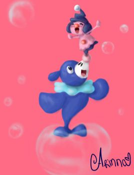 Pokemon - Popplio and Mime jr by Arinna1