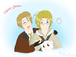 Hetalia - America and Canada - Christmas by Toboe4Ever