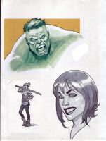 Marker Sketches...and Hulk by NelsonBlakeII