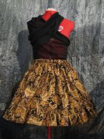 Gold and Brown Ruffle Skirt by SeraphimFeathers
