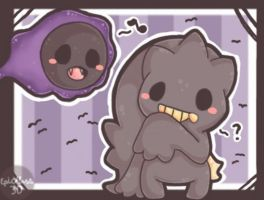 .:Chibi Gastly and chibi Banette~! X3:. by EpicMaster3D