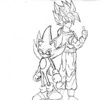 Goku vs Sonic Sketches by ZeroExile