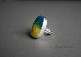 Sterling Silver and Solar Quartz Ring by Linuziux